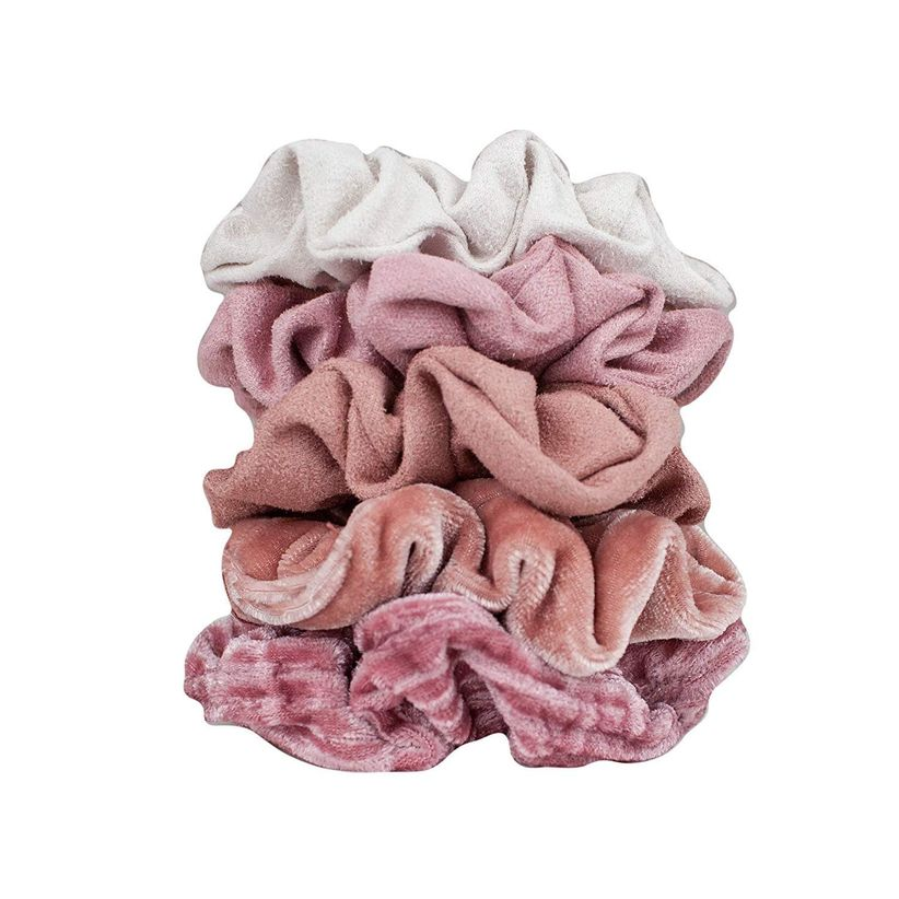 closeup of five velvet scrunchies in pink and white colors stacked on top of each other