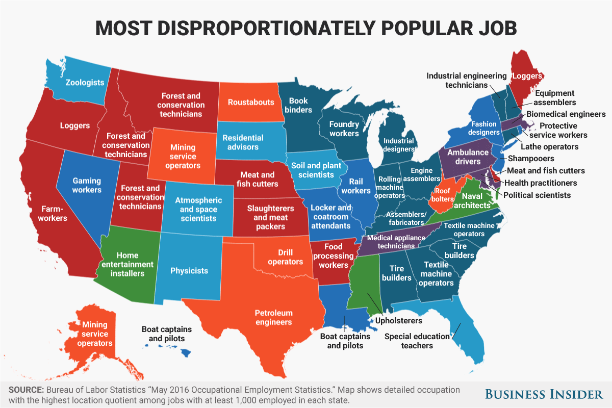 Map Shows The Most Disproportionately Popular Job In Each