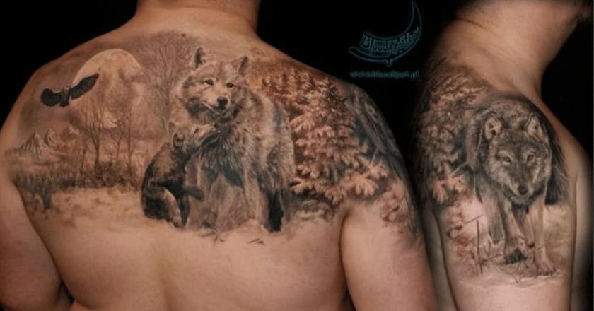 Wolf Pack Tattoo Sleeve