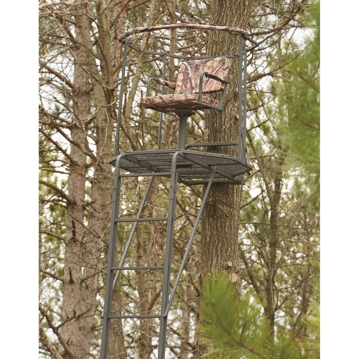 high chair deer stand table with chairs and bench 10 best reasonably priced options 4 guide gear double rail 360 swivel 20 ladder treestand