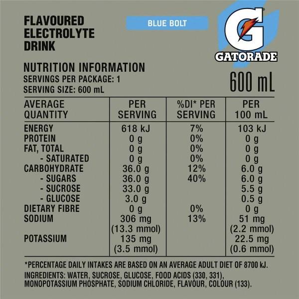 Gatorade Blue Bolt Sports Drink 600ml Woolworths