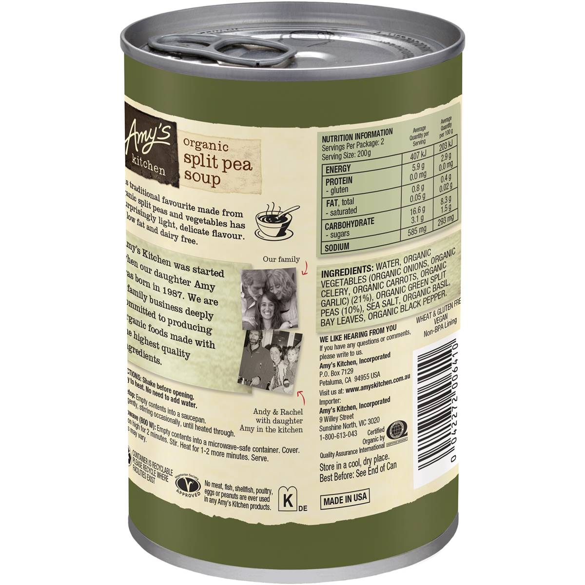 amy's kitchen soup bay window amy 39s split pea 400g woolworths