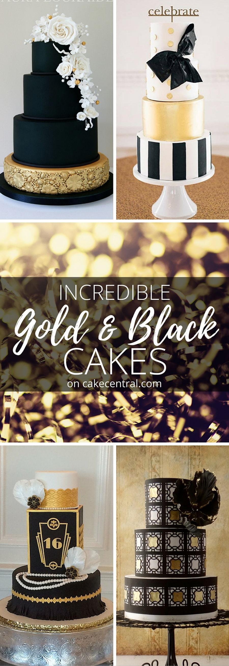 Unconventionally Beautiful  Black and Gold Wedding Cakes  CakeCentralcom