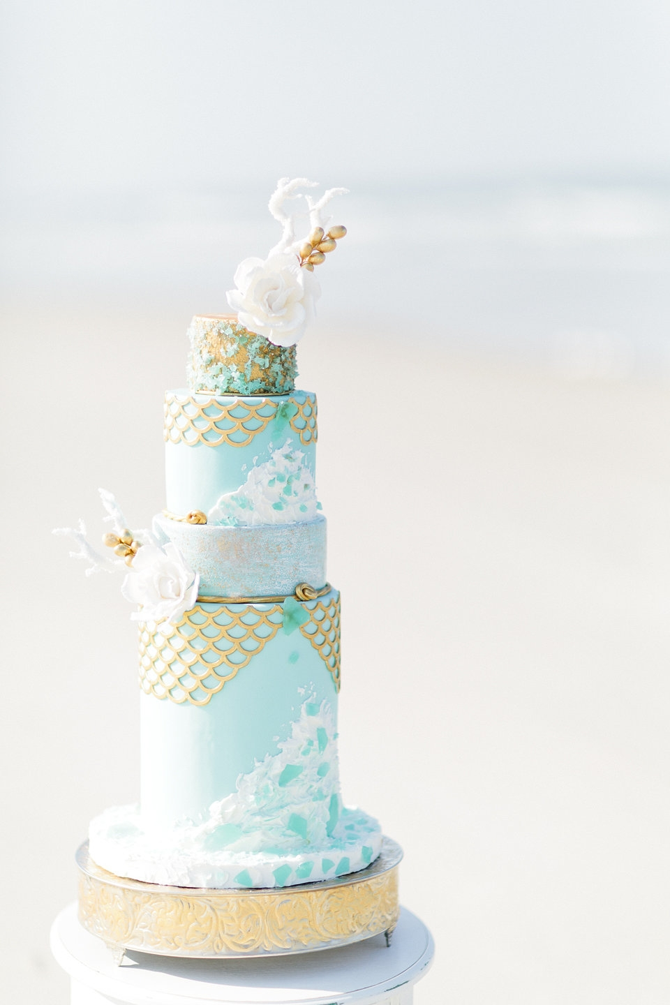 Sea Glass Wedding Cake  CakeCentralcom