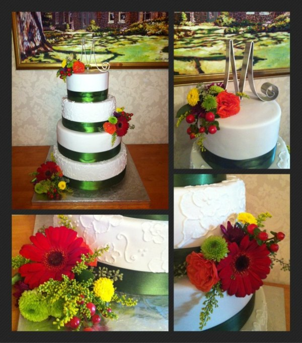 4 Tier Wedding Cake Fall Covered In Fondant Satin Ribbon
