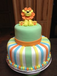 Lion Baby Shower Cake - CakeCentral.com