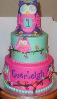 Owl Blossom First Birthday - CakeCentral.com