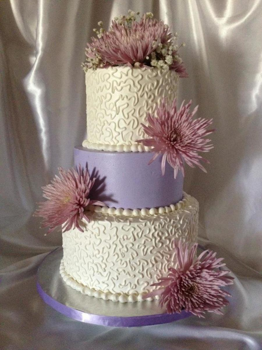 Lavender Cornelli Lace Wedding Cake With Fresh Flowers