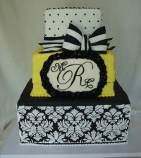 Black, White & Yellow Damask Wedding Cake - CakeCentral.com