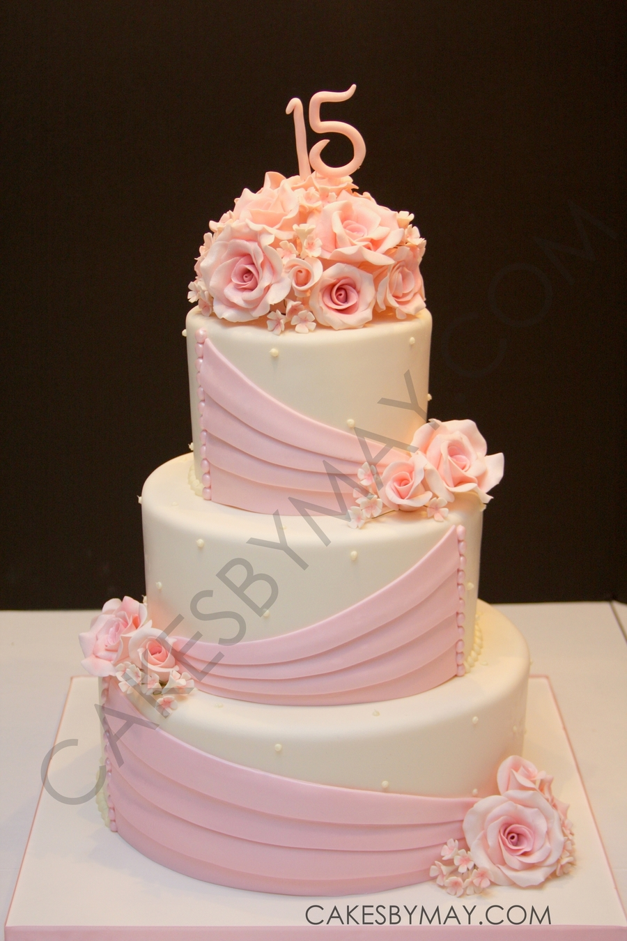 Pink Roses And Draping Quinceanera Cake Cakecentralcom