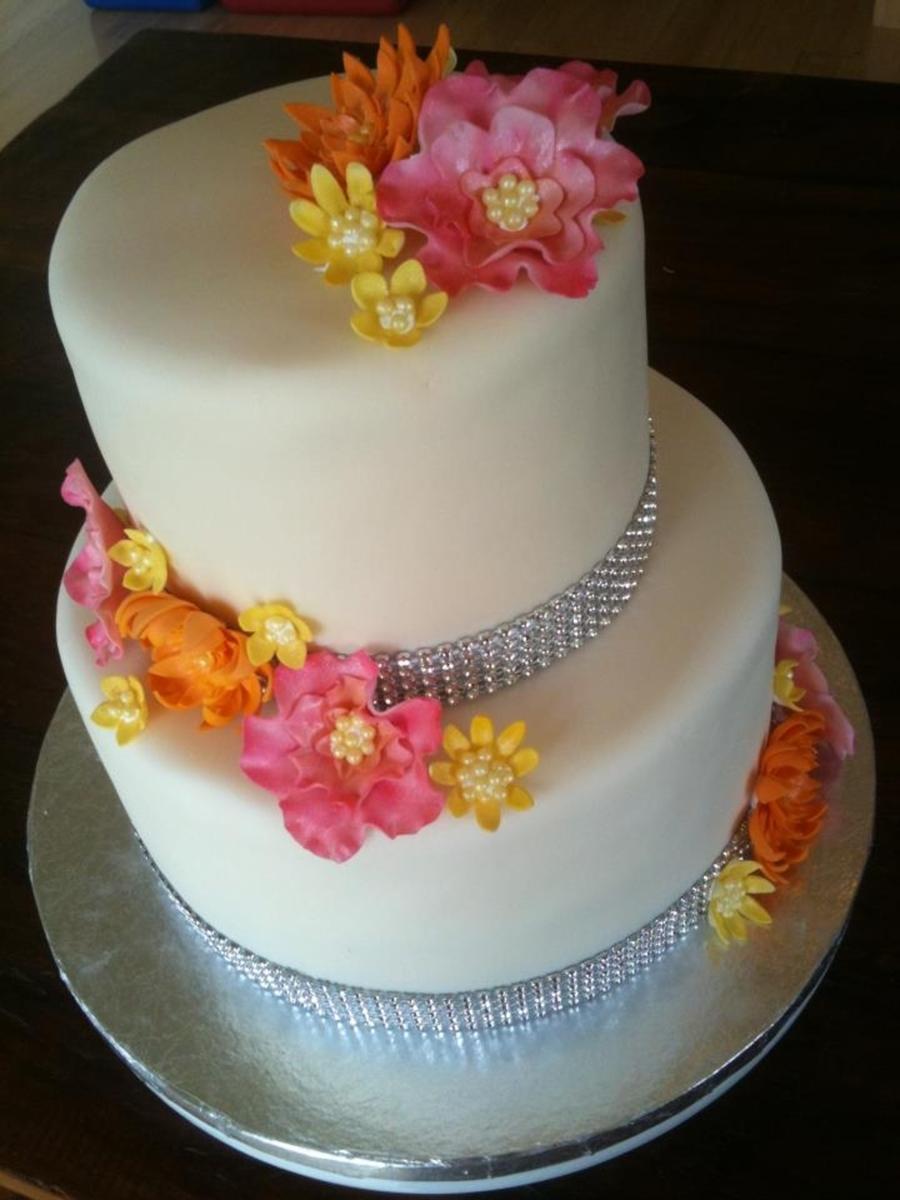 Bling Sugar Flower Wedding Cake
