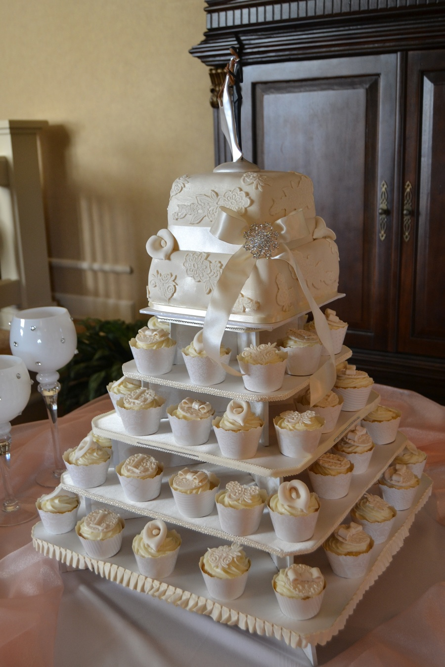 Ivory Amp Lace Square Wedding Cupcake Tower