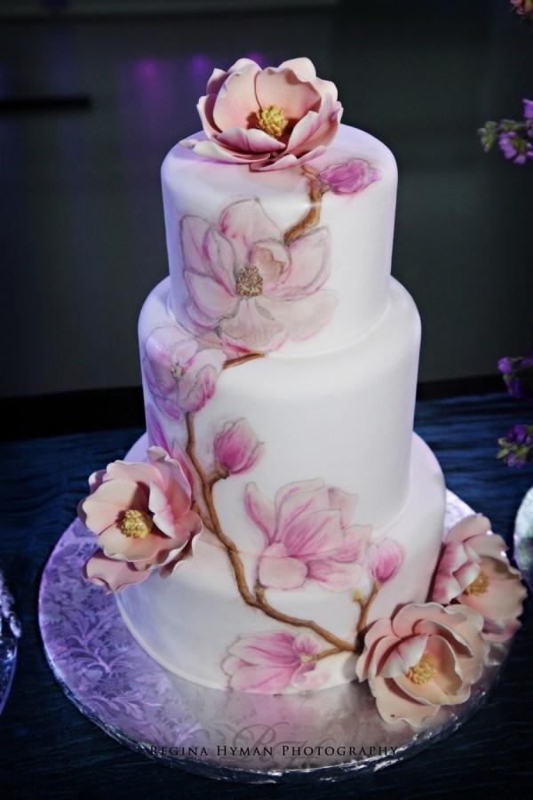 Painted Fondant Wedding Cake