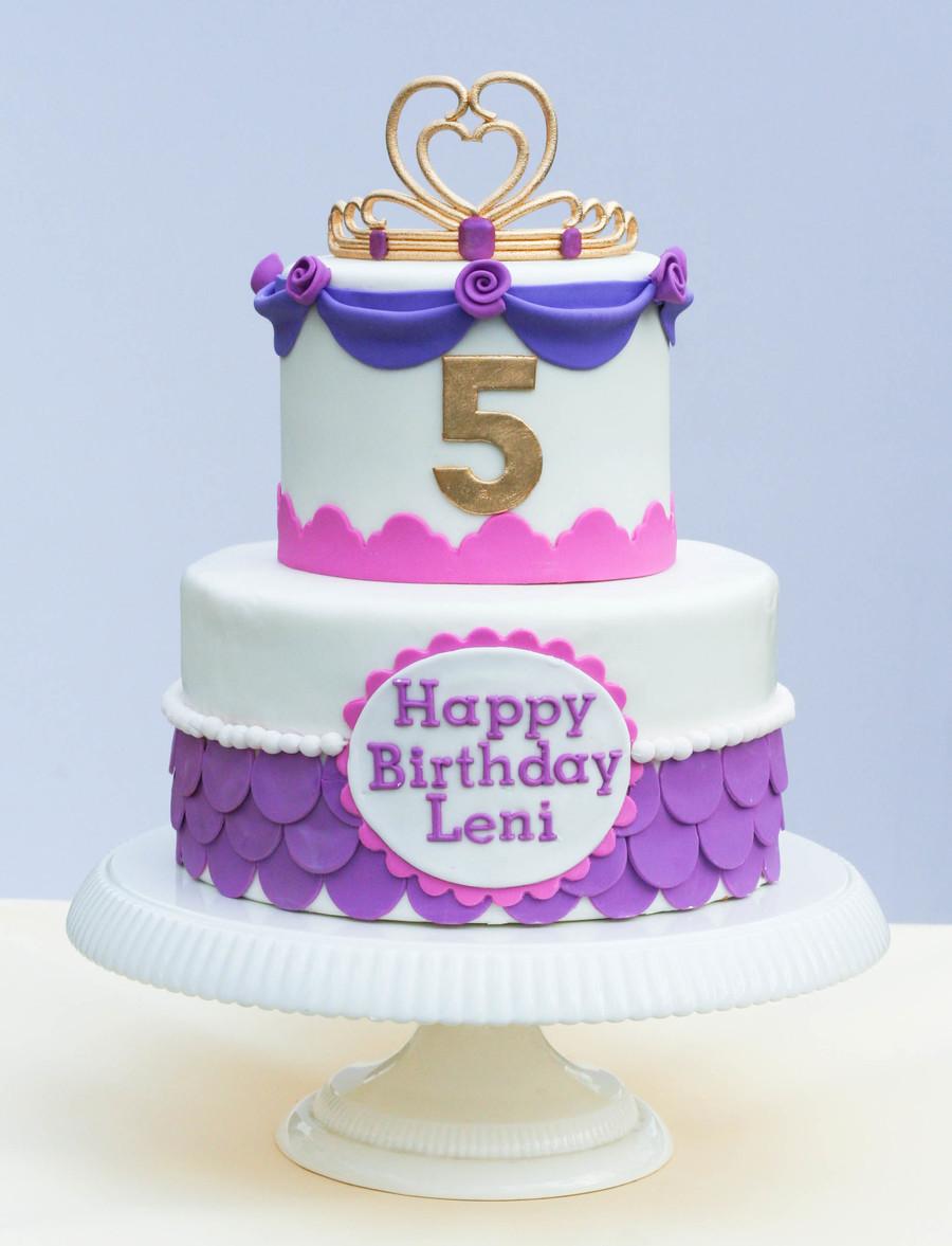 Pink And Purple Princess Cake With Edible Tiara