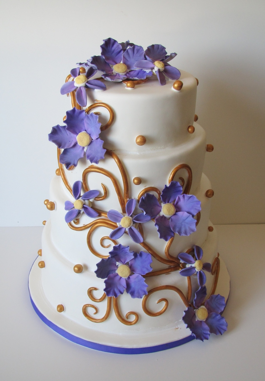 Purple And Gold Wedding  CakeCentralcom