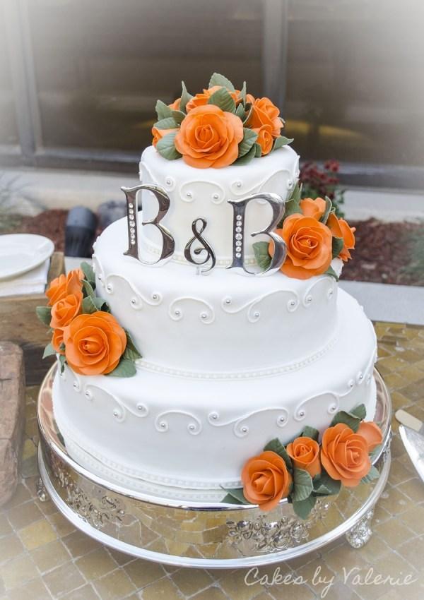 Orange Roses Fall Wedding Cake CakeCentralcom