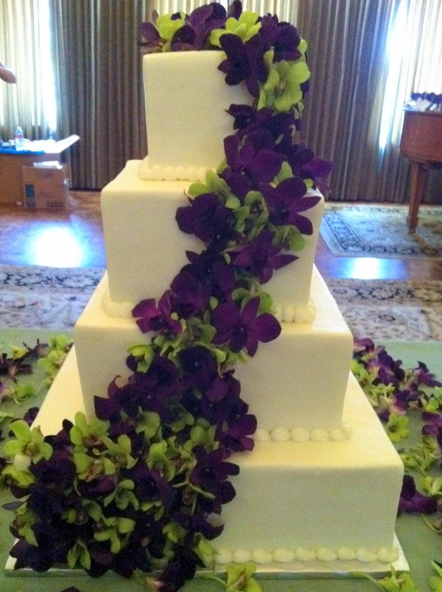 White  Purple Orchids Wedding Cake  CakeCentralcom
