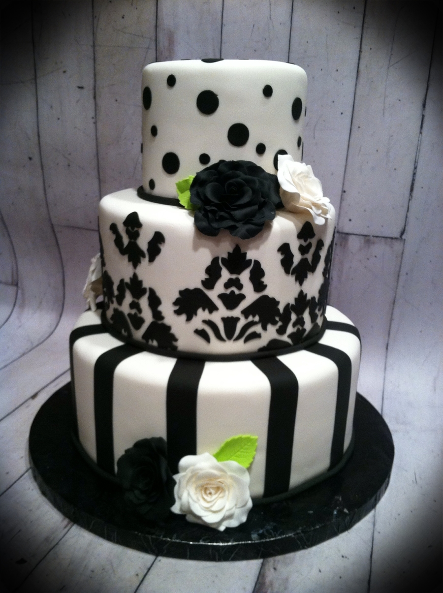 Black White And Lime Green Wedding Cake  CakeCentralcom