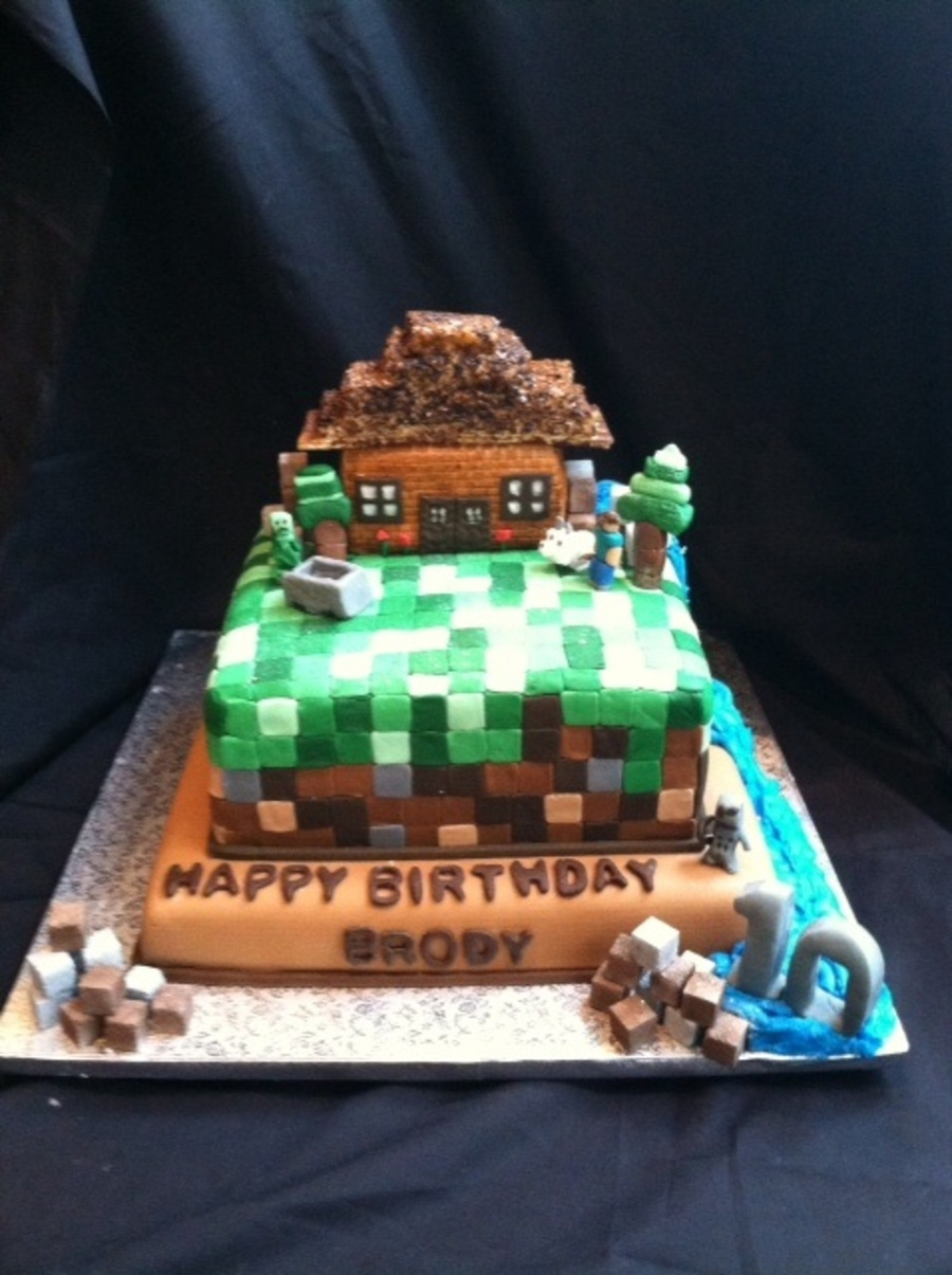 Minecraft Birthday Cake With Waterfall Complete With