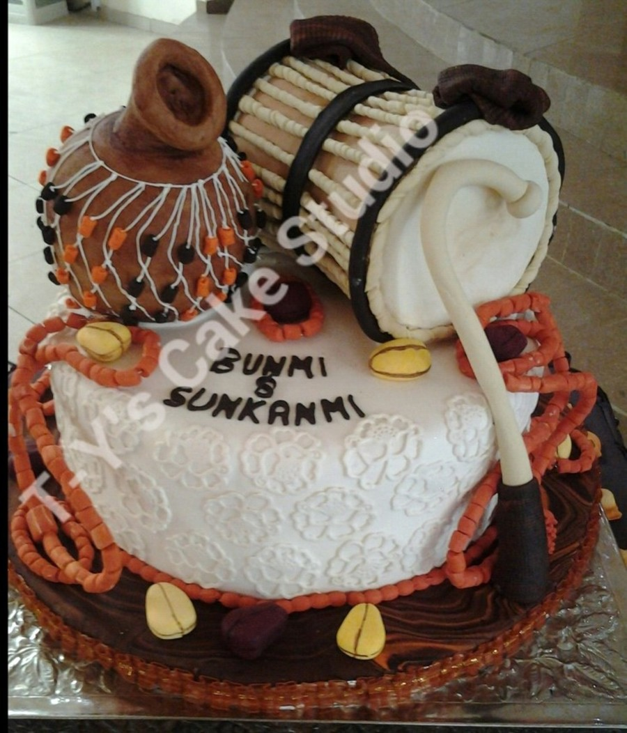 Yoruba Traditional Wedding Cake Talking Drum Is Vanilla Coconut Cake While Base And Calabash Is