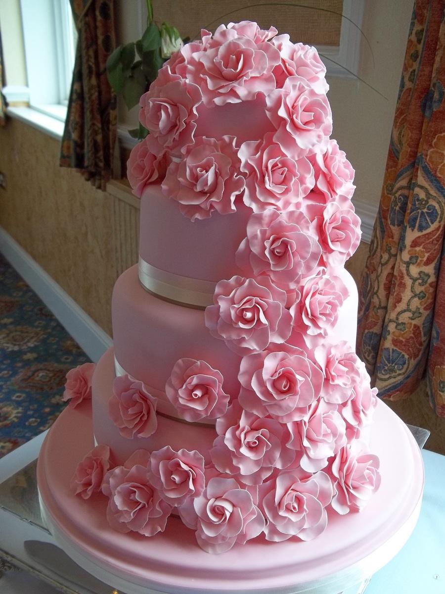 4 Tier Wedding Cake With Cascading Roses  CakeCentralcom