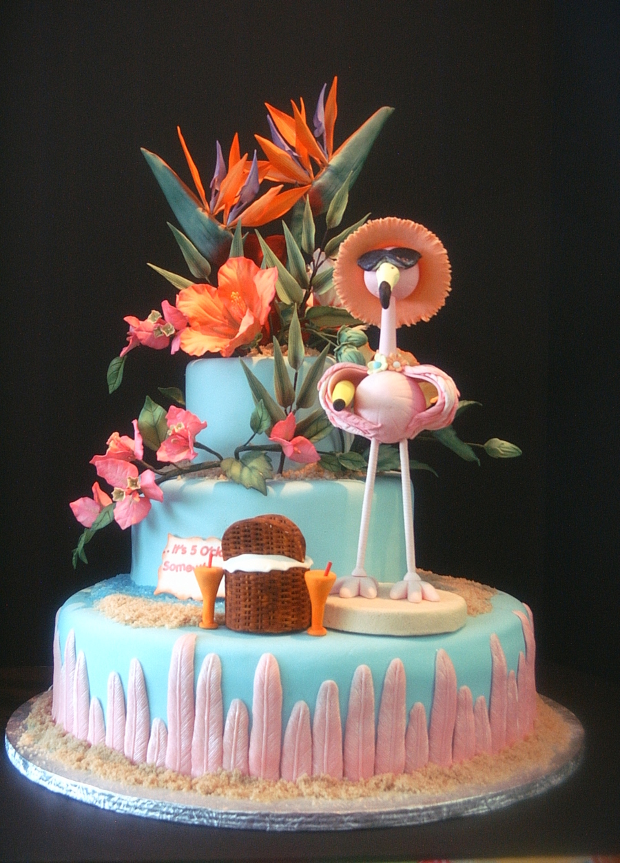 Flamingo At The Beach With Beautiful Realistic Looking Tropical Gumpaste Flowers  CakeCentralcom