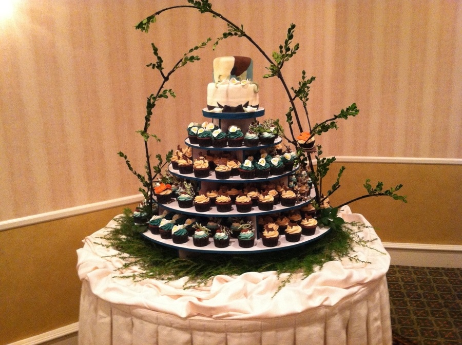 Camouflage Cupcake Tower  CakeCentralcom