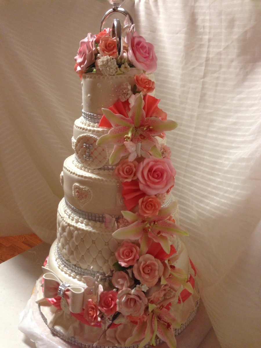 Coral Themed Wedding Cakes Tons Of Sugar Flowers  CakeCentralcom