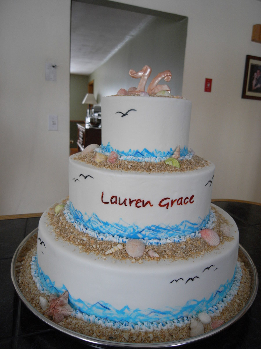 3 Tier 6 10 14 Beach Themed Cake For A Sweet 16 Party Top