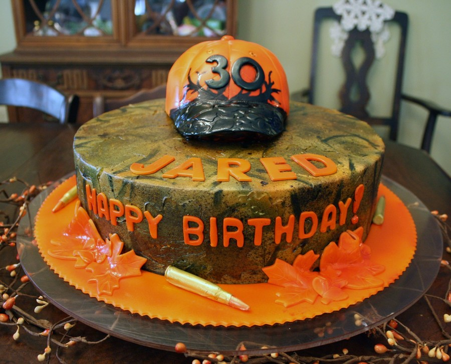 Camo Cake With Blaze Orange Hunting Hat And 3006 Bullets