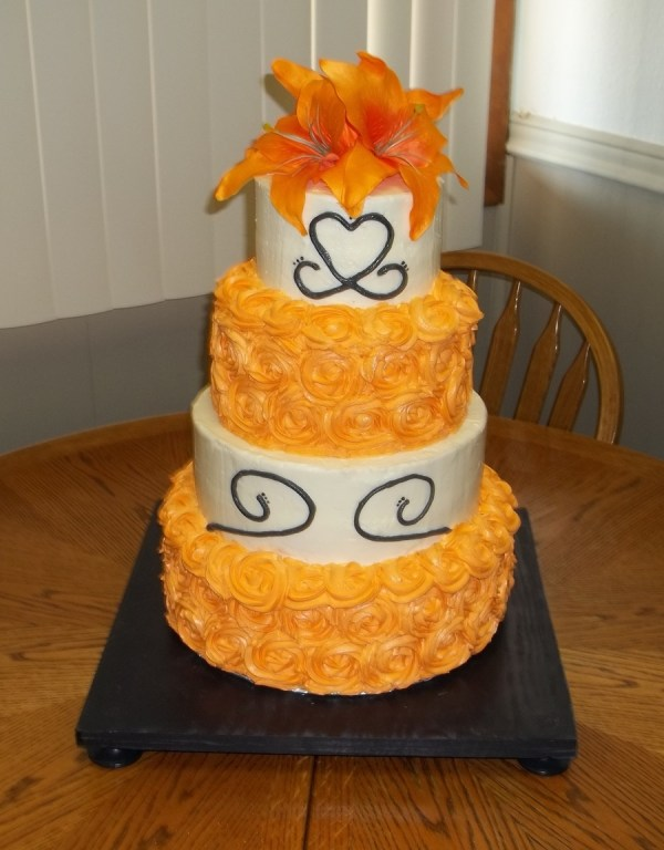 Orange Swirl Rose Wedding Cake CakeCentralcom