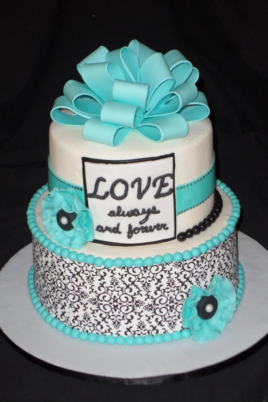 Black White And Tiffany Blue Bridal Shower Cake