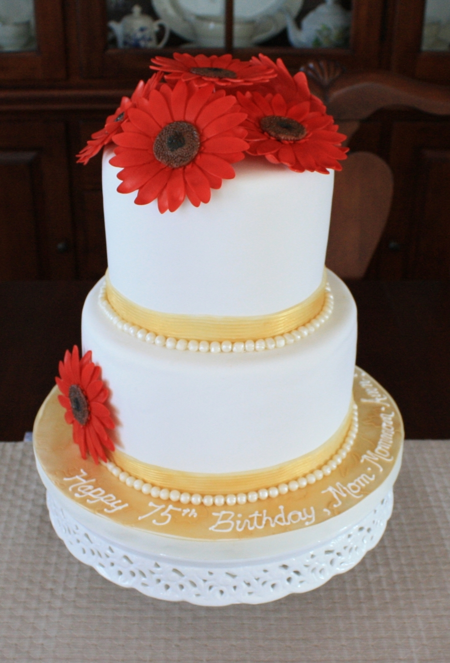 Red And Gold Birthday Cake  CakeCentralcom