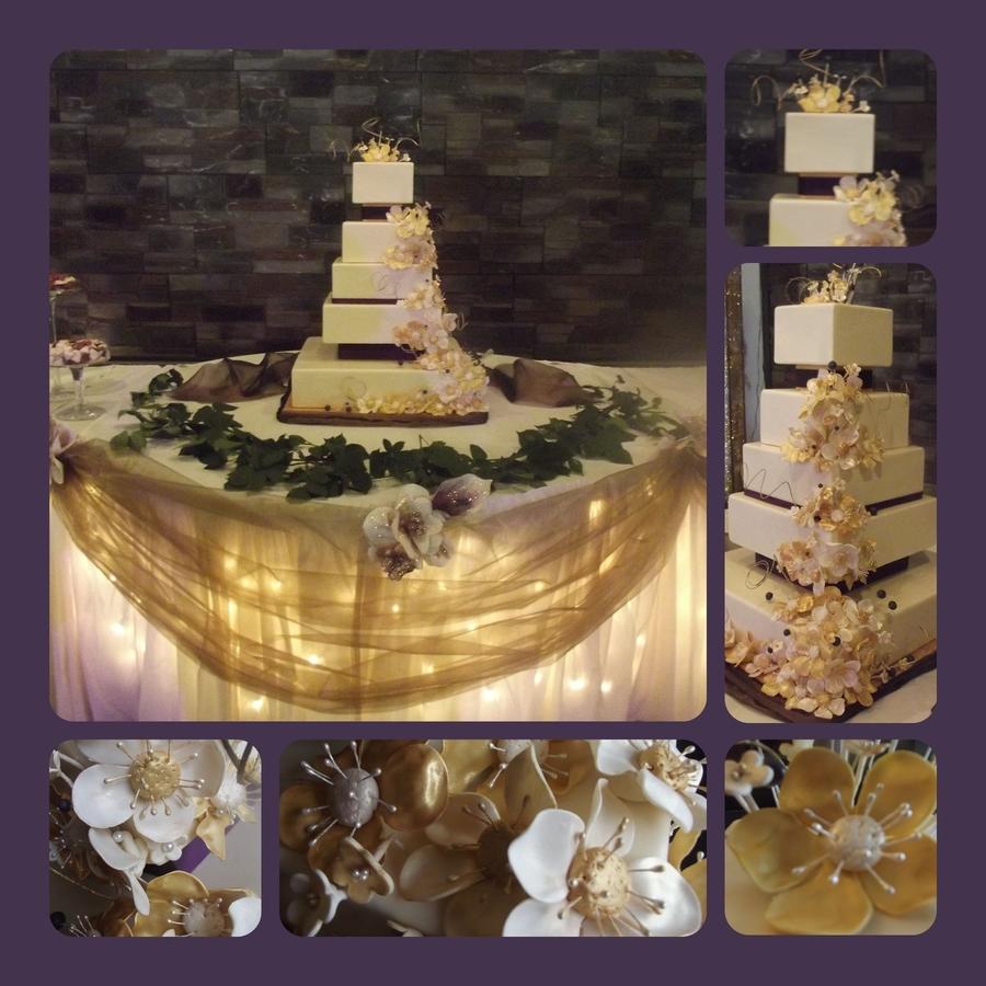 Ivory Amp Gold 5 Tier Wedding Cake
