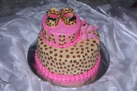 Cheetah Print Baby Shower Cake - CakeCentral.com