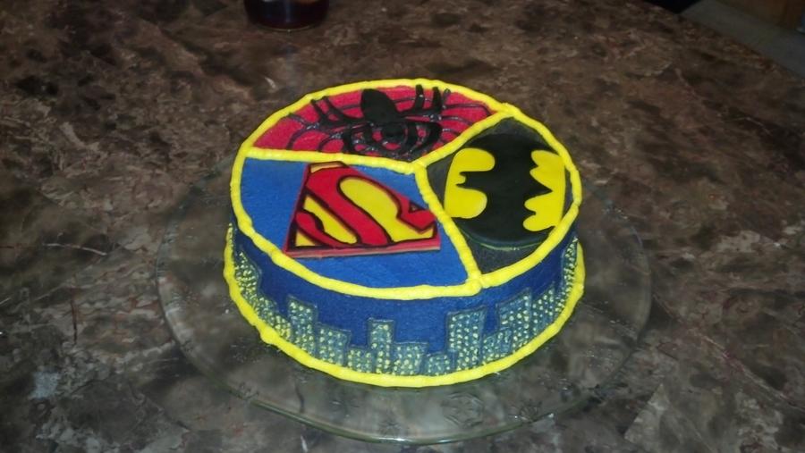 Spiderman Superman Batman Cake Cakecentral Com
