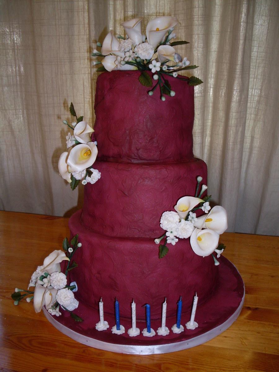 Burgundy Birthday Cake With Sugar Flowers