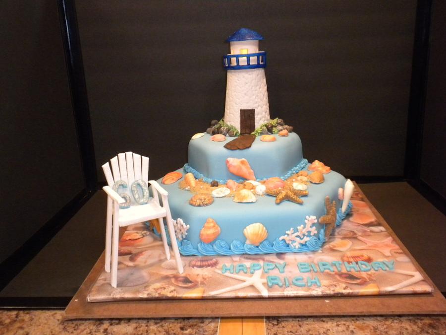 Lighthouse Beach Birthday Cake  CakeCentralcom