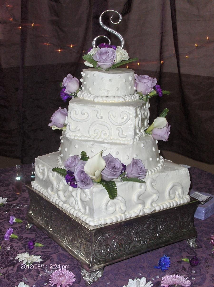 Square And Round Wedding Cake  CakeCentralcom