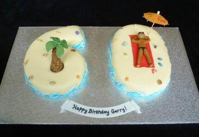 Number 60 Birthday Beach Theme Cake Cakecentralcom