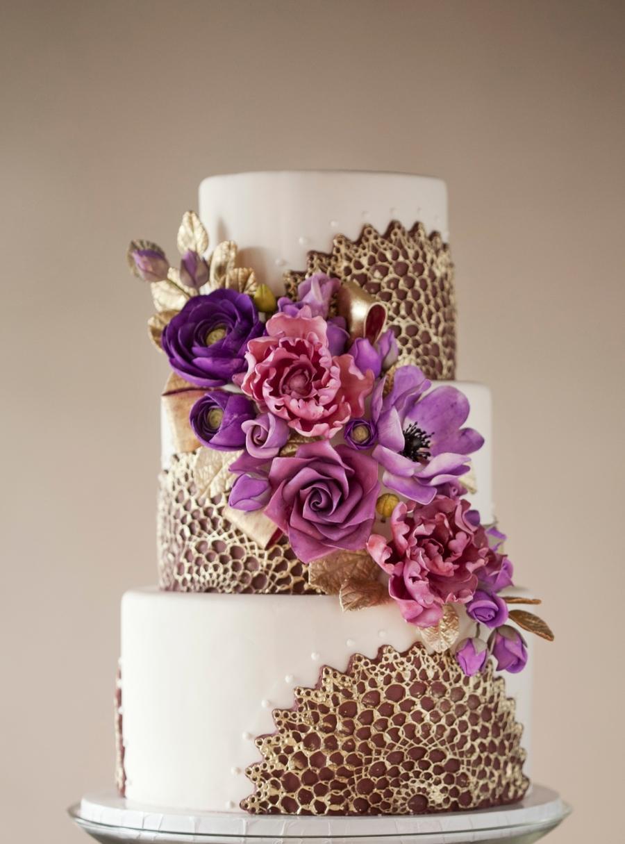 Purple  Gold Wedding Cake  CakeCentralcom