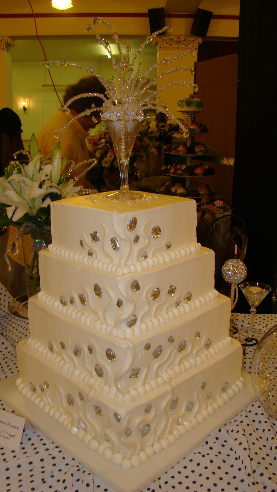 Square Buttercream Wedding Cake With Fondant And Jewels