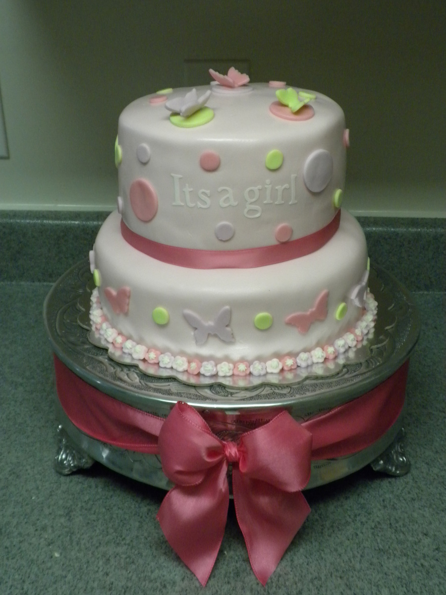 Its A Girl Butterfly Baby Shower Cake  CakeCentralcom