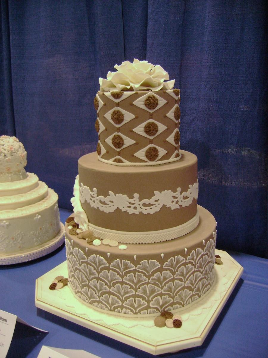 Taupe Wedding Cake  CakeCentralcom