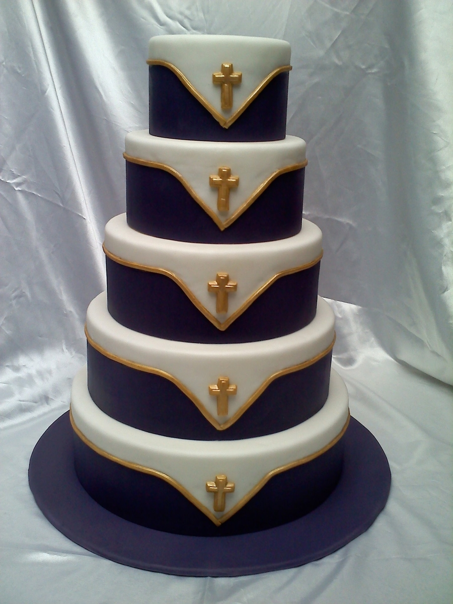 Purple And Gold Wedding Cake  CakeCentralcom