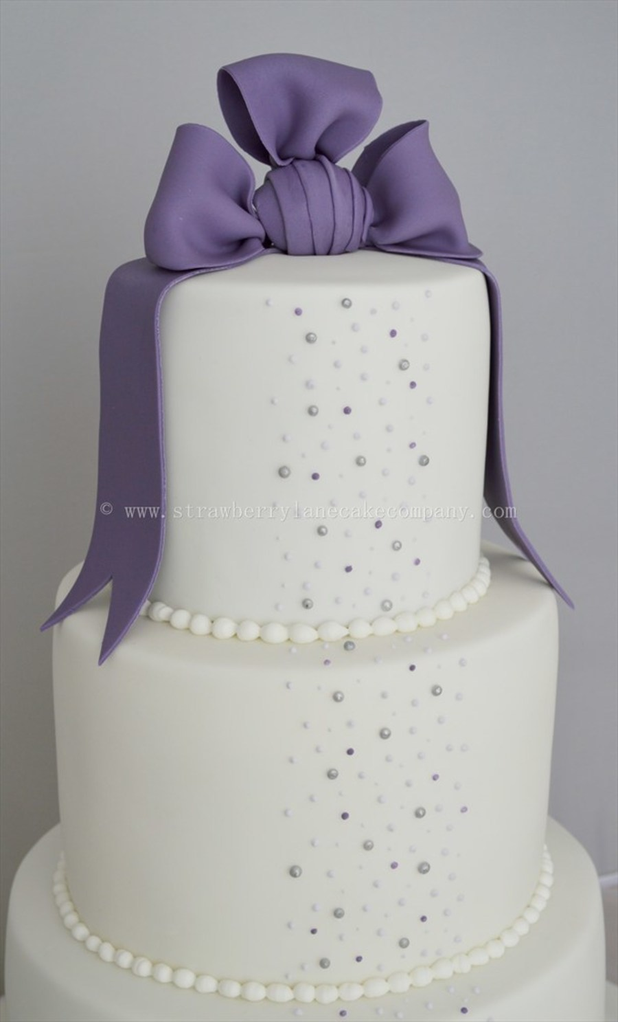 Purple And White Pearl Wedding Cake  CakeCentralcom
