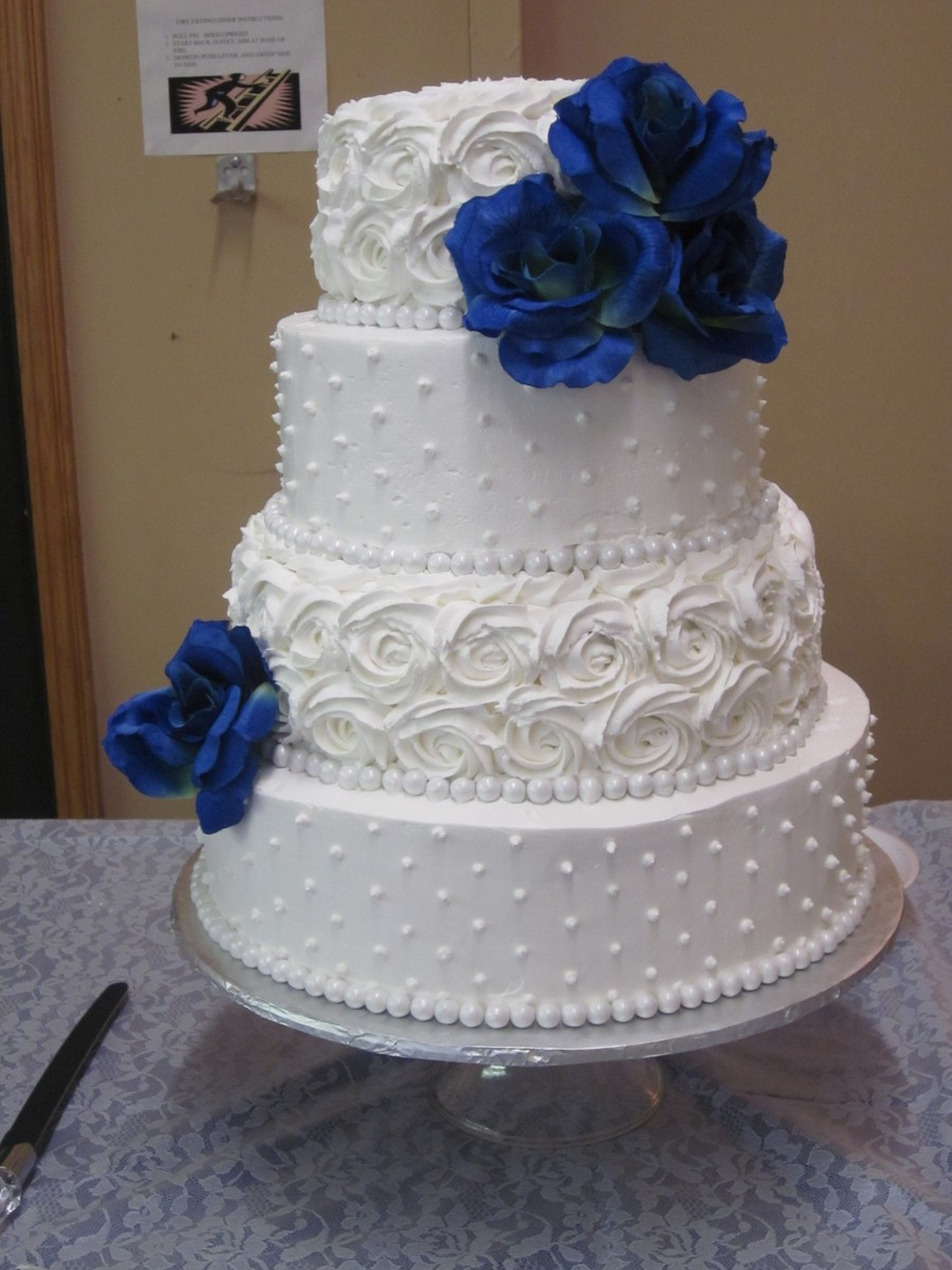 Dot And Rosette Wedding Cake  CakeCentralcom