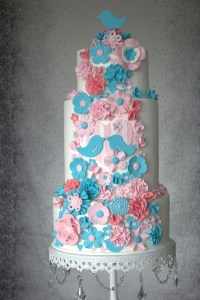 Pink And Teal Wedding Cake - CakeCentral.com