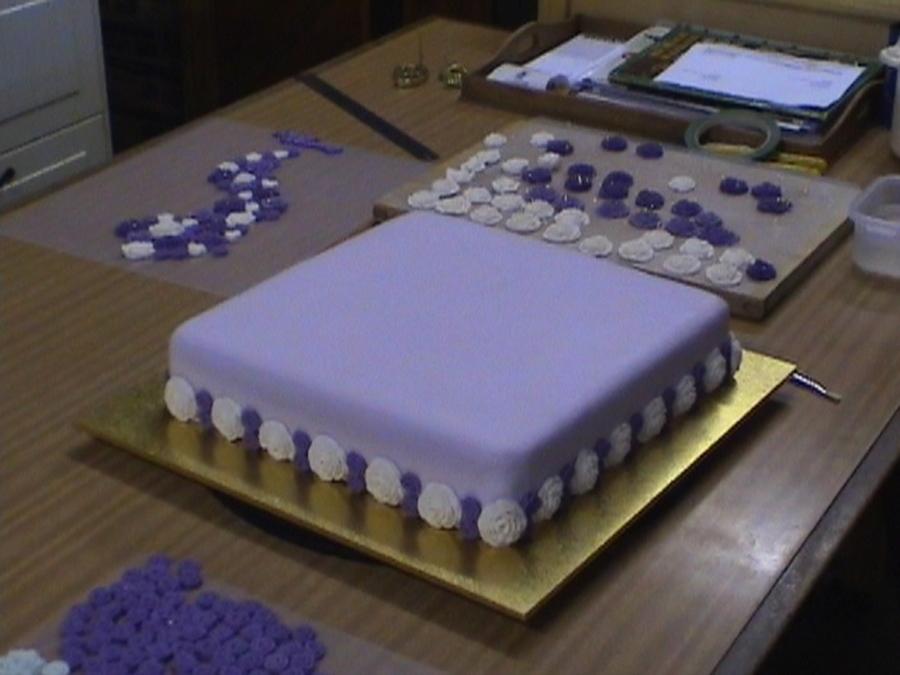 Purple Rose 65Th Wedding Anniversary Cake
