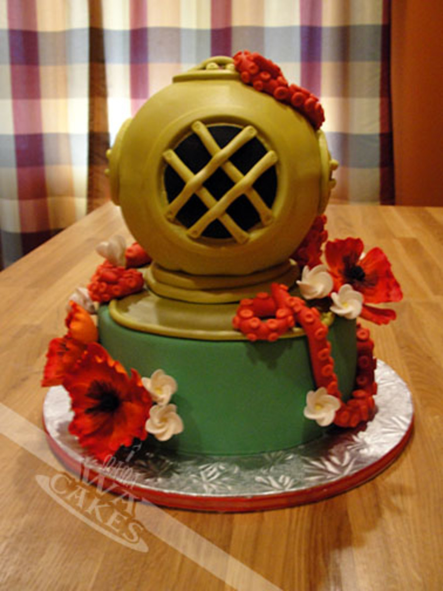 Mark V Deep Sea Diver Helmet Wedding Cake  CakeCentralcom